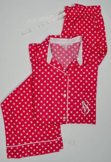 Фланелевая пижама красная в горох