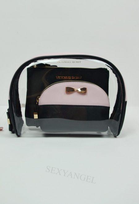 Набор из 3х косметичек черно-розовый с золотым бантиком
