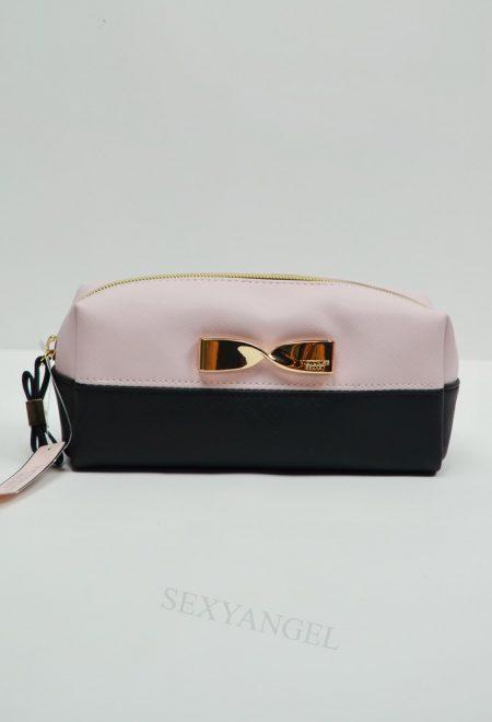 Косметичка-пенал черно-розовая с золотым бантиком