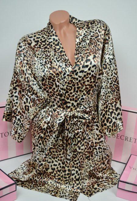 Сатиновый леопардовый халатик