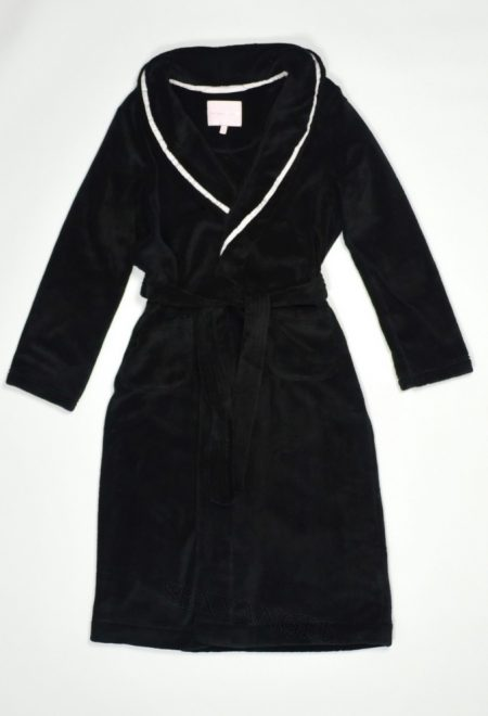 Длинный флисовый халат черный