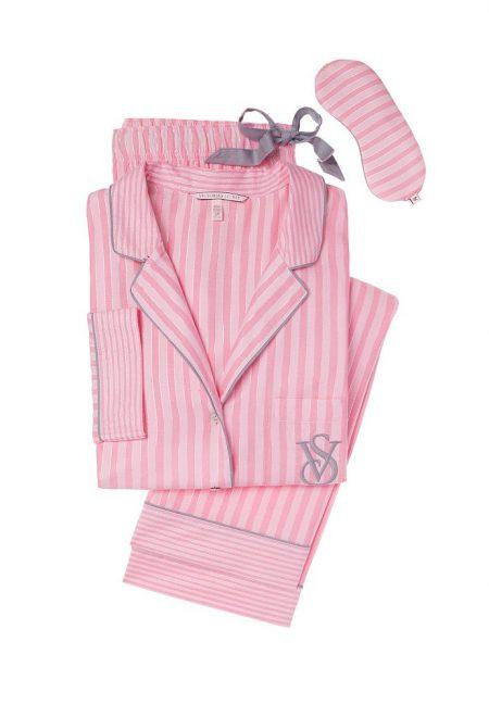 Фланелевая пижама розовая полоска серая окантовка