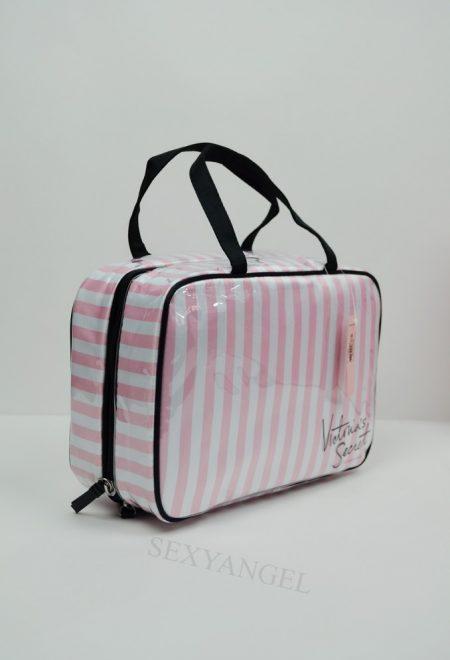 Дорожная косметичка розовая полосатая