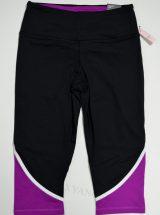 Капри Knockout из коллекции VSX Sport черные с фиолетово-бирюзовыми вставками