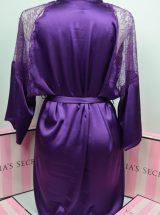 Сатиновый халат фиолетовый с вставками из кружева