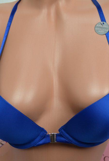 Бюстгальтер двойной пуш-ап Bombshell с застежкой спереди синий