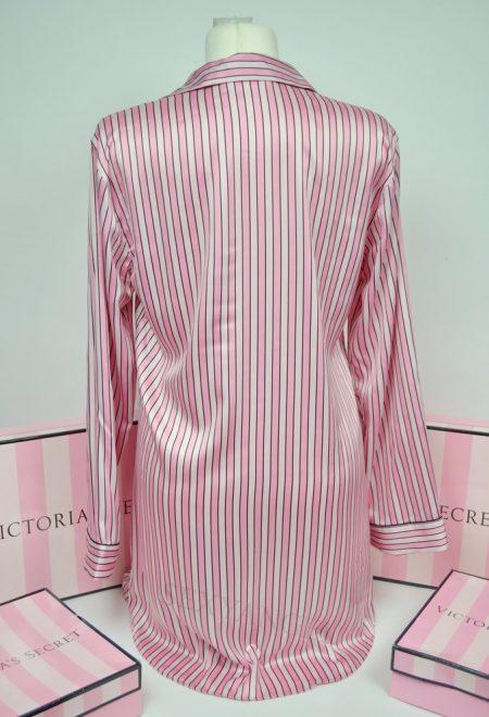 Сатиновая рубашка для сна в фирменную полоску