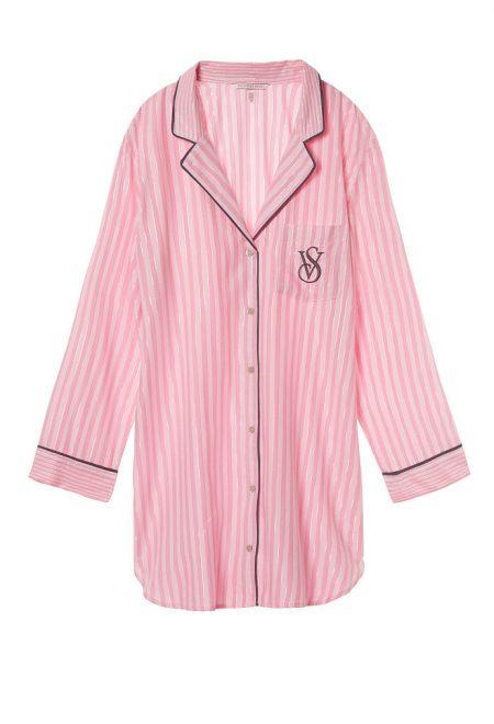 Фланелевая рубашка для сна в фирменную полоску