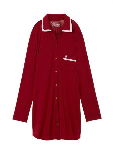 Супермягкая рубашка для сна Body by Victoria темно-красная