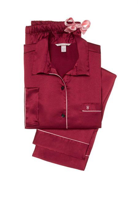 Сатиновая пижама темно-красная