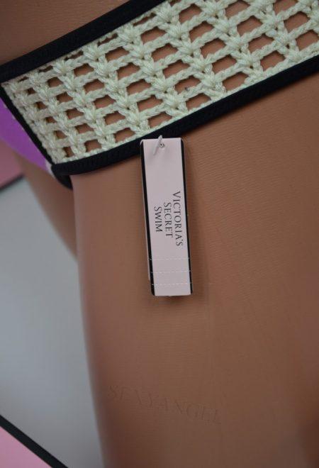 Купальник бандо колорблок фиолетовое с персиковым