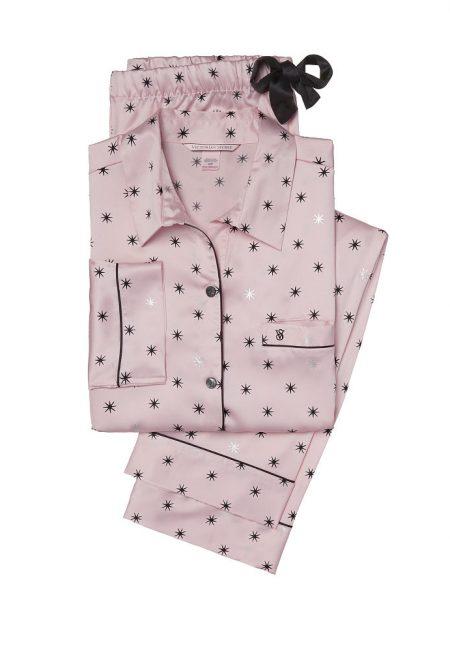 Сатиновая пижама розовые звезды
