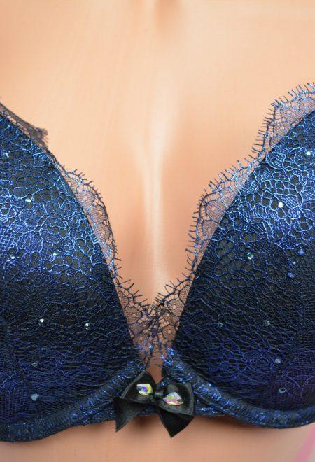 Комплект Very Sexy синий с камнями и кружевом