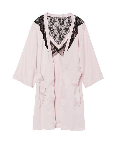 Набор для сна - сатиновый халат и слип розово-черный