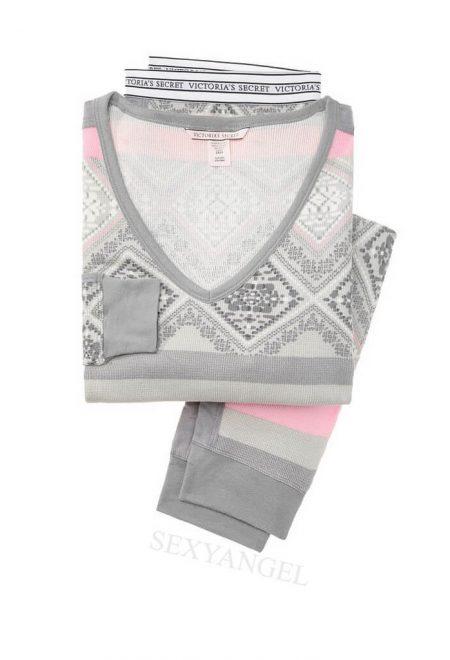 Termalnaya pizhama Victoria's Secret sero-rozoviy print