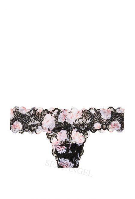 Kruzhevnie trusiki stringi Pink chernie s cvetami