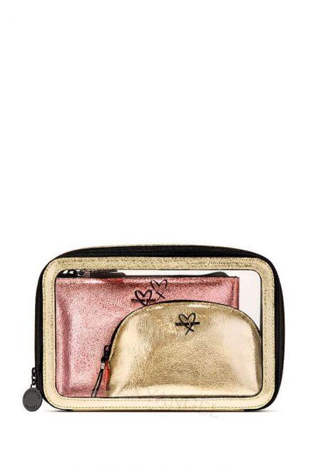 Nabor 3-h kosmetichek Victoria's Secret rozovoe zoloto