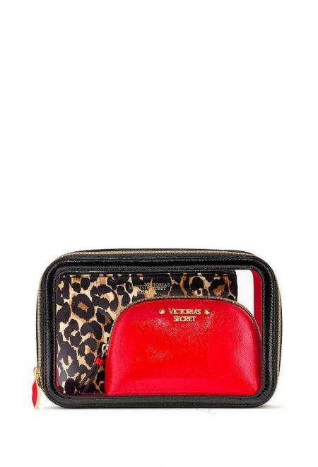 Nabor 3-h kosmetichek Victoria's Secret krasniy leopard