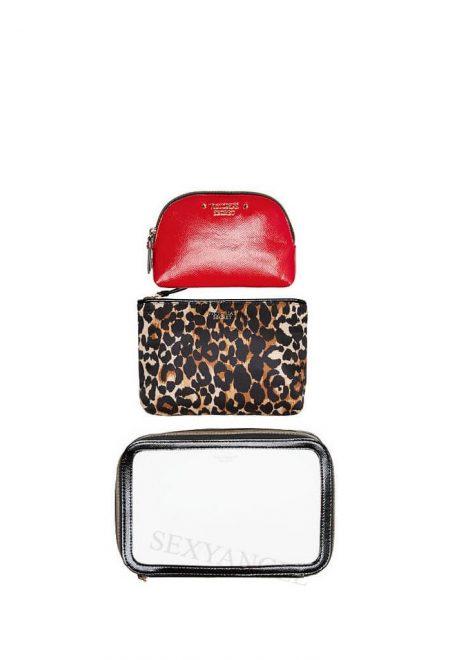 Nabor 3-h kosmetichek Victoria's Secret krasniy leopard1