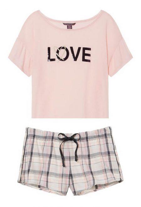 Pizhama Victoria's Secret futbolka s flanelevimi shortami rozovaya love