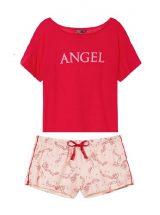 Pizhama Victoria's Secret futbolka s flanelevimi shortami krasnaya angel