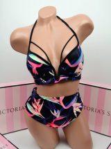 Kupalnik push up Pink v-wire visokie plavki cherniy raznocvetniy print