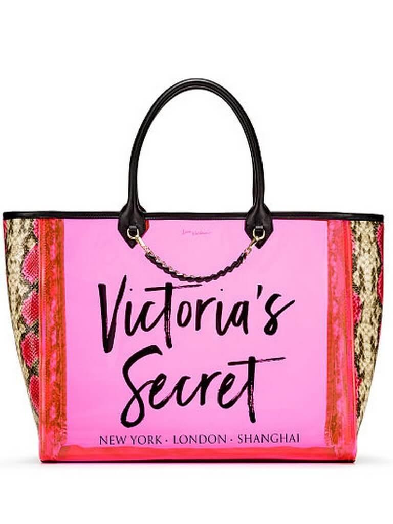 c2e75e8a64bd Prozrachnaia sumka Victoria's Secret Angel City Tote iarko-rozovaia
