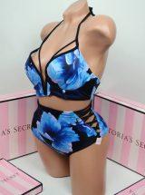 Kupalnik push up Pink v-wire s visokimi plavkami sinie cveti2