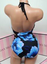 Kupalnik push up Pink v-wire s visokimi plavkami sinie cveti3