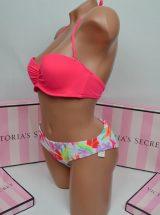 Kupalnik bando Beach Sexy jarko-rozovij s raznocvetnimi plavkami2