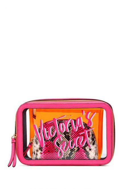 Nabor iz 3-h kosmetichek Victoria's Secret malinovo-oranzhevij