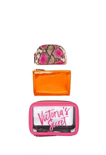 Nabor iz 3-h kosmetichek Victoria's Secret malinovo-oranzhevij1