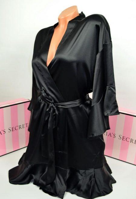 Satinovoe kimono s riushami Very Sexy chernoe1