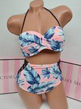 Kupalnik bando Pink s visokimi plavkami palmovij print