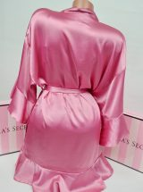 Satinovoe kimono s riushami Very Sexy rose luster2