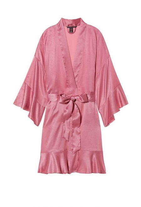 Satinovoe kimono s riushami Very Sexy rose luster3