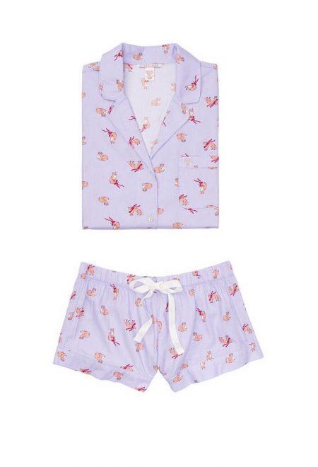 Flanelevaia pizhama Victoria's Secret rubashka i shtani fioletovie lisi