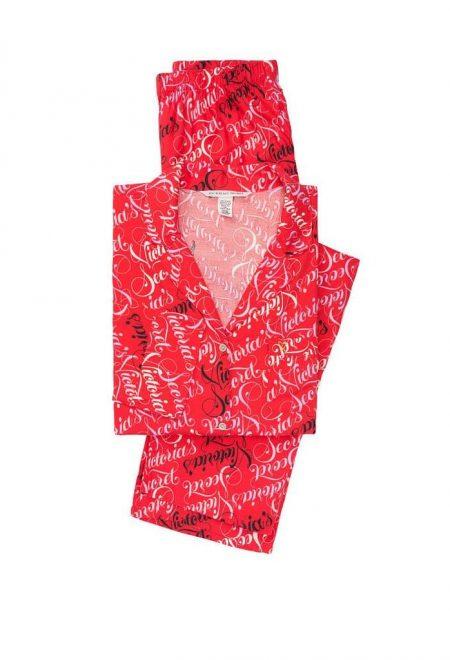 Flanelevaia pizhama Victoria's Secret rubashka i shtani krasnie bukvi