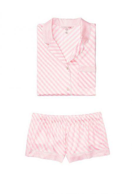 Satinovaia pizhama Afterhours rubashka i shortiki pink bias stripe