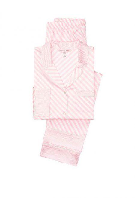 Satinovaia pizhama Afterhours rubashka i shtani pink bias stripe