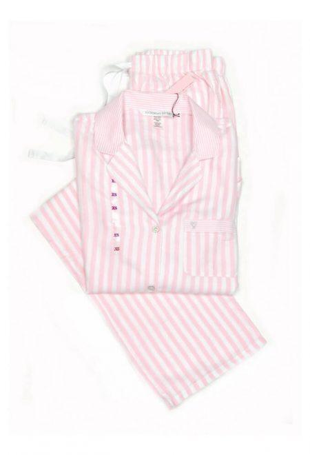 Flanelevaia pizhama Victoria's Secret rubashka i shtani rozovaia poloska