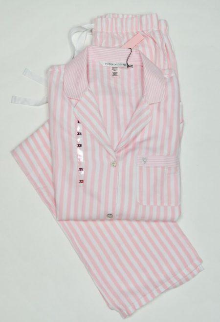 Flanelevaia pizhama Victoria's Secret rubashka i shtani rozovaia poloska1