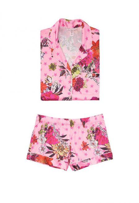 Satinovaia pizhama Afterhours rubashka i shortiki rozovij cvetochnij print