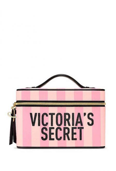 Dorozhnij kejs dlia kosmetiki Victoria's Secret pink stripe
