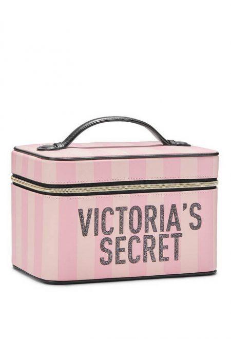 Dorozhnij kejs dlia kosmetiki Victoria's Secret pink stripe1
