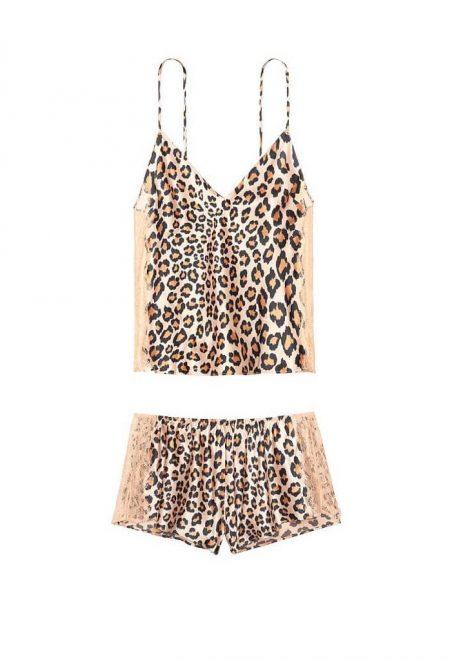Satinovij nabor dlia sna leopardovij s kruzhevom