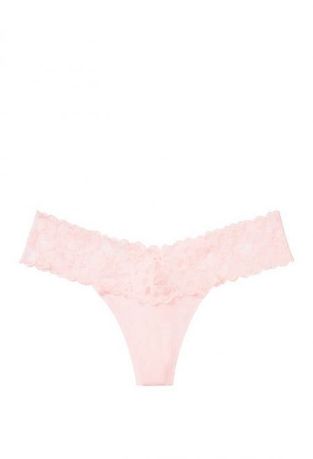 Trusiki stringi s kruzhevom serii Cotton angel pink