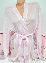 Shifonovij halat kimono s kruzhevom rozovij
