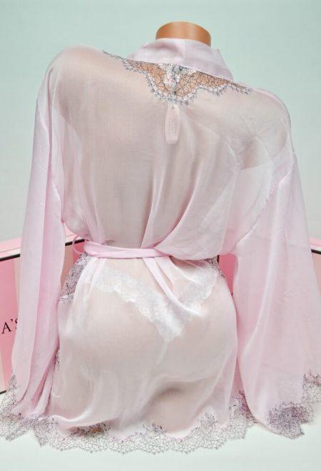Shifonovij halat kimono s kruzhevom rozovij2
