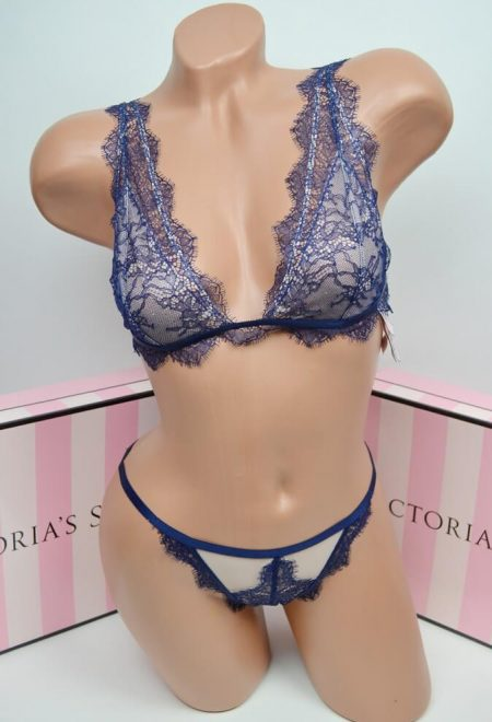 Komplekt bralet Luxe lingerie blue chantilly lace
